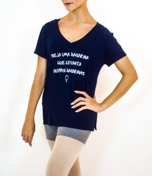 T-shirt gola V seja uma Bailarina que levanta outras Bailarinas