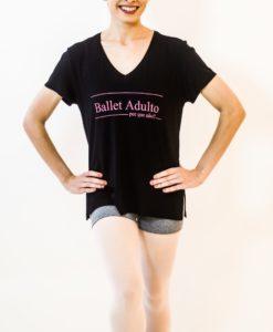 T-shirt gola V Ballet adulto. Por que Não?