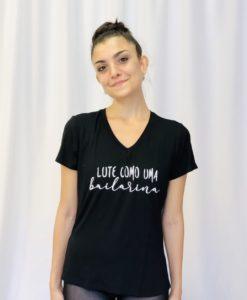T-shirt gola V lute como uma Bailarina